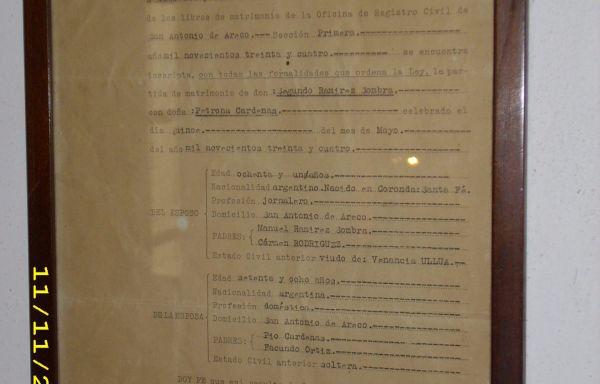 OBJETO Nº: 043 Certificado de Matrimonio de Don Segundo Ramirez Sombra y  Doña Petrona Cárdenas
